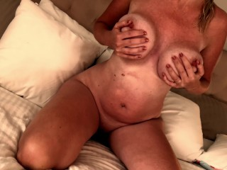 Swedish cougar toying with mammories
