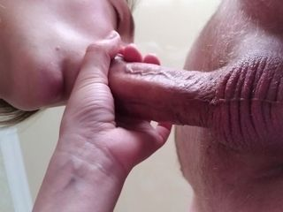 'Calmed morning erection and got cum on my pussy'