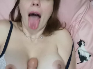 ASMR, Dirty Talk, Titty Fuck, Cum on Tongue