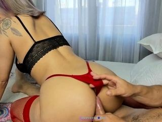 Fetish whore gives blowjob to dirty pov fetish cock