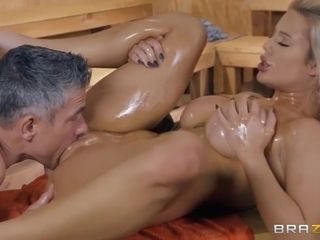 Busty Hottie Gets Freaky & Takes A Dick In The Sauna With Luna Skye And Mick Blue