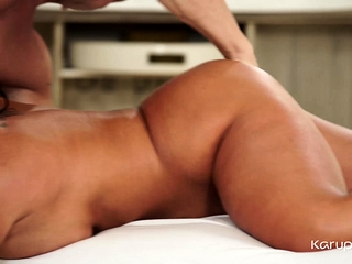 Busty mature babe Raven Hart is getting a massage, but she