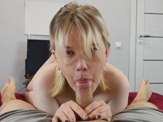 my gf decided to give me a blowjob, I could not resist and cum in her mouth, pov, 18+