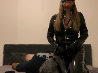 FEMDOM Catwoman makes Facesitting, Whipping and Fingering Pussy in her Latex Suit and High boots