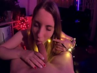 Xmas Tease And Couch Ride From Girlfriend Wrapped In Lights