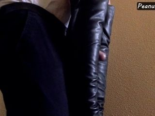 'Mistress in high leather boots and harness teasing cock till huge cumshot'