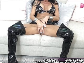 German mature skinny milf housewife in laex with big tits