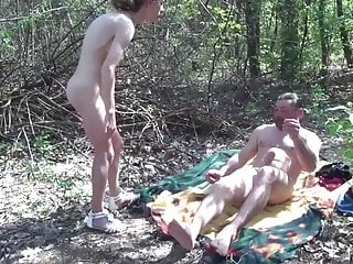 Amateur mature hairy fucks & piss outdoor