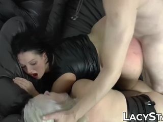 GILF Lacey Starr joins hot facefucking threeway pussy pounding