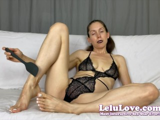 'Female Domination babe dark lipstick telling you how to stroke and fuck your ass with spatula & condom JOI CBT - Lelu Love'