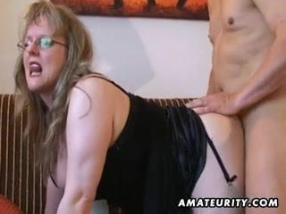 Full-Bosomed unexperienced mother deep throating and nails with boy milk on baps