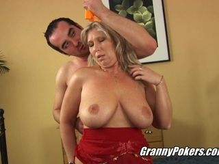 Hotness Blond Hair Granny Wants His Huge Dick
