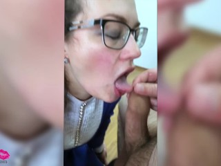 Horny Wife Hard Fuck Huge Dildo and Sloppy Blowjob Dick Husband - Cumshot