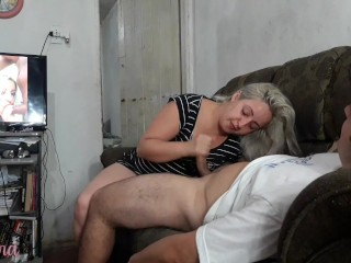 Hot babe decides to help cousin virgin and makes him cum three times