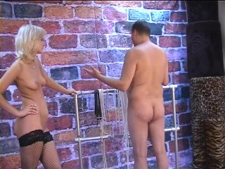CUTE BLONDE HANDCUFFS AND TEASES ME - 2