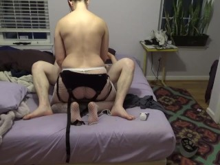Homemade pegging with huge toy on bed