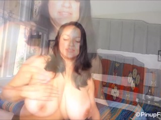 'Monica Mendez on webcam saying Anniversary greetings for Pinupfiles'