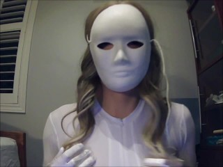 Masked Girl in White Pt1! A mysterious masked girl with big tits feels herself!