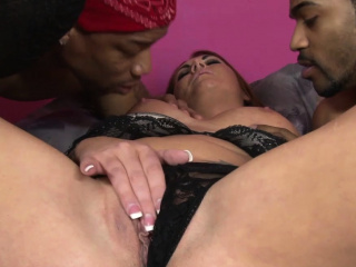 Horny MILF waits for a group of perverted black guys