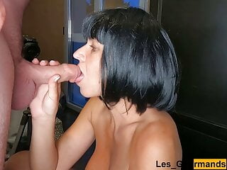 My step cousin jerks off & cums on dark-haired girl's face