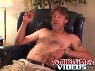 Mature man with small hairy cock masturbates and cums on cam