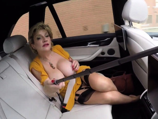 Gal Sonia frolicking with her slit in the van