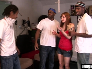 Redhead experienced gangbang action with black guys