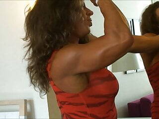 MF Muscle Goddess Flexing in Sexy Dress