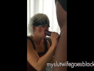MYSLUTwifeyGOESdark-hued blond wifey fellating monstrous dark-hued man sausage with crimson Lips