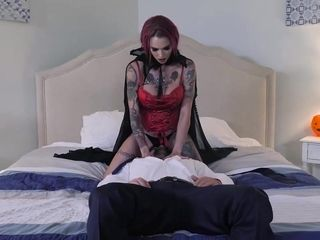 Anna Bell Peaks is wearing her sexy Goth costume and getting fucked the way she always wanted