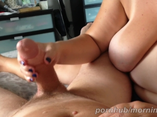 Arm job - wifey demolishes my 1st climax then stocks my jizz-shotgun to a second spunk shot