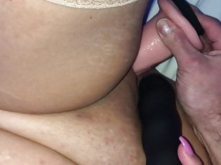She gets fucked and filled with cum from squirting dildo