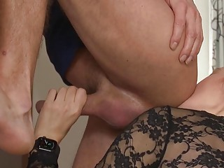 Dominant MILF uses a strapon to brutally fuck her man