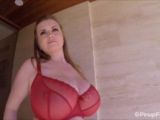 Maria Body is your lovely busty teaser in red lingerie