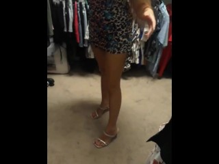 German Sexy Milf trying on Dresses and Shoes in her closet