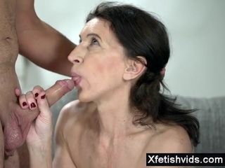 Thin grannie Blows lengthy chisel