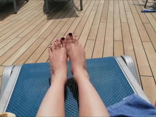 having fun showing my feet in public during a cruise