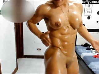 Nude female muscle Latina on cam