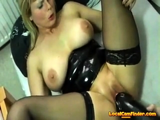 Pulverizing Herself With A phat dark-hued fuck stick