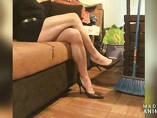 SWEEPING IN MINI DRESS AND STILETTO HIGH HEELS