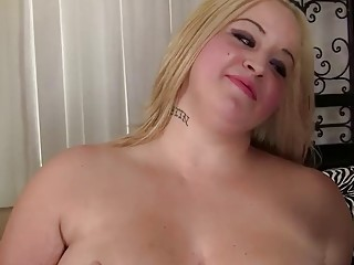 Busty blonde BBW sucking and fucking a dirty old man