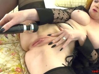 Crimsonhead mature crimson hard-core gets off with her fucktoy