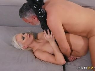 Long-legged Blonde In Black Leather Saddles A Stud On Couch With Kenzie Taylor And Keiran Lee