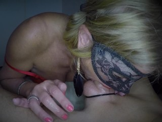 'Dutch masked babe sucks big cock nice rimming and receives an big load of cum on her face and in eye'
