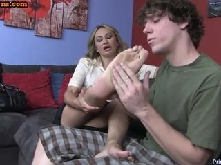 Schoolboy worships hooves increased by adult pussy be required of wreath hot stepmom