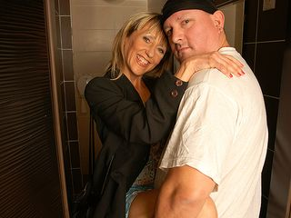 Super-Naughty urinate liking housewife gets a urinate and a shag on a restroom