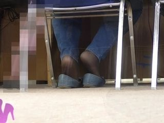 Candid wife shoeplay in the library Smelly flats