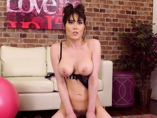 Busty Brunette Rides A Sybian in Live Show After Preparing