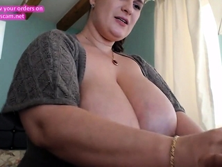 Super-steamy brown-haired plus-size plays with her jugs and puss part3.