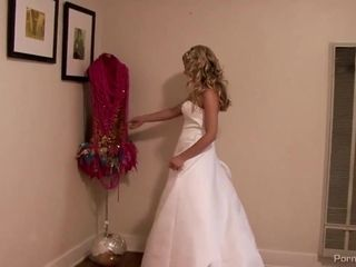 Ravishing blonde woman is getting ready for the wedding ceremony and fucking her husbands best man